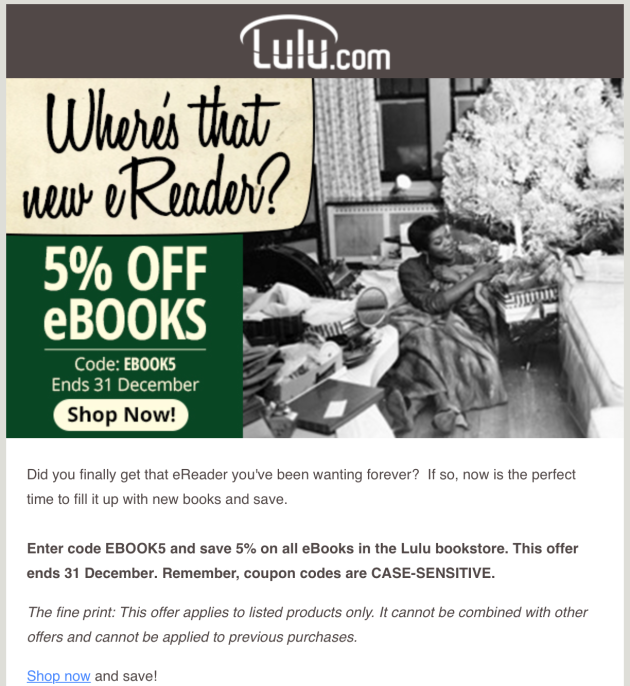 Lulu ebook sale 30 Dec