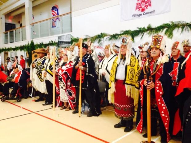 Heiltsuk Hemas standing with Haida Hereditary Chiefs
