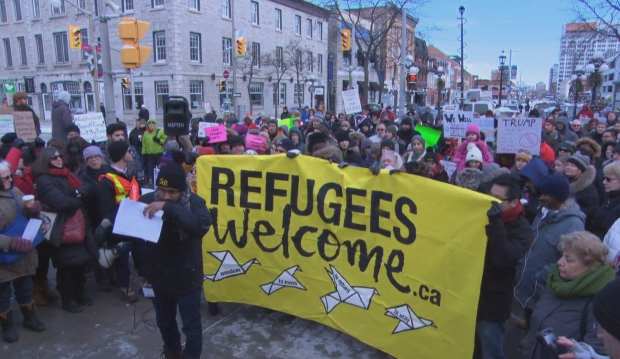 Ottawa U.S. Embassy Trump protest travel ban Jan 30 2017