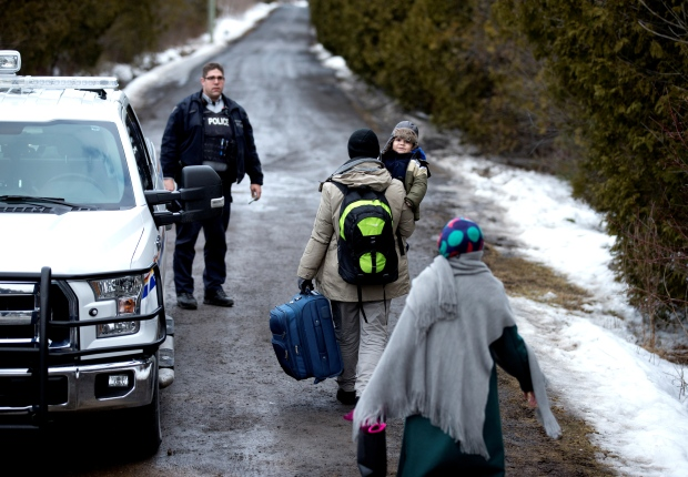 Refugees crossing into Quebec