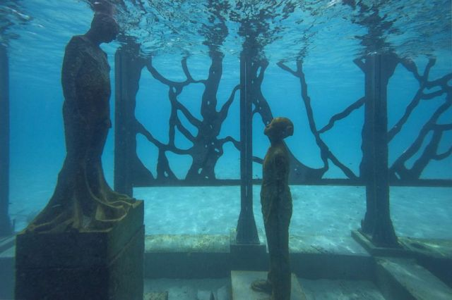 PHOTO: Artist and environmental sculptor Jason deCaires Taylor has created a semi-submerged tidal gallery exhibiting a number of artworks designed to evolve over time called Coralarium, Aug. 14, 2018, in the Maldives.