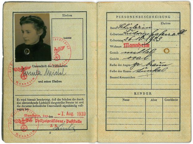 Ursula Michel's kindertransport passport