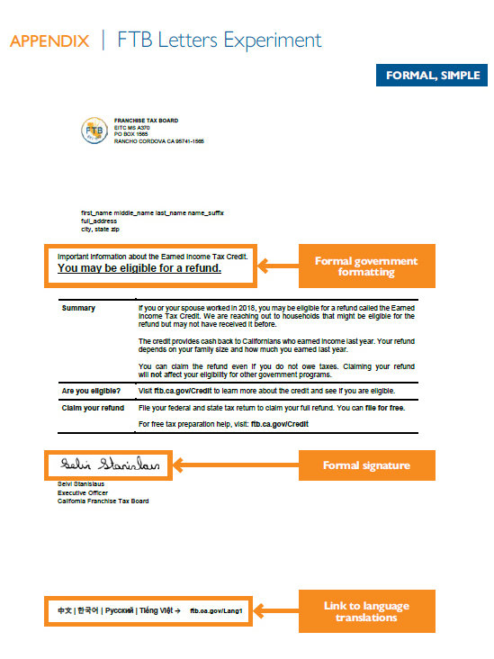 An example of a letter sent in the EITC experiment